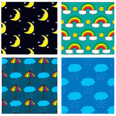 Four seamless patterns with hand drawn moon, rainbow, clouds and umbrella — Stock Vector