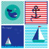 Collection with cards in marine style with while, ship and anchor — Stock Vector
