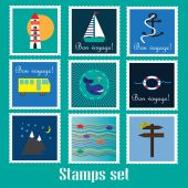 Travel and marine adventures vector set — Stock Vector