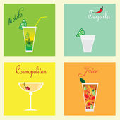 Collection with four coctails: mohito, tequila, cosmopolitan and juice — Stock Vector