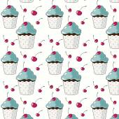 Pattern with cupcakes and cherries — Stock Vector