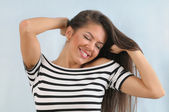 Attractive cute happy young emotional woman enjoying life — Stock Photo