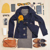 Fashion stylish set of clothing and accessories for the fall — Stock fotografie