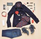 Stylish set of clothing and accessories for the fall — Stockfoto
