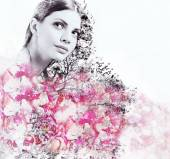 Abstract double exposure of attractive woman and petal of roses — Stock Photo