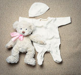Set of fashion trendy stuff and teddy bear for newborn baby — Stock Photo