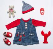 Top view fashion trendy look of baby girl clothes and toy stuff — Stock Photo