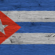 Cuba national flag painted old oak wood fastened — Stock Photo #62770947
