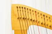 Celtic harp close-up lever and strings — Stock Photo