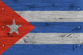 Cuba national flag painted old oak wood fastened — Stock Photo