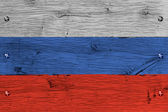 Russia national flag painted old oak wood fastened — Stock Photo