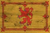 Royal Standard of Scotland flag painted old oak wood fastened — Stock Photo