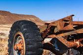 Close up car wreck desert — Stock Photo