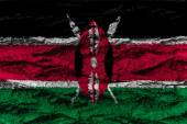 Kenya national flag painted wooden bark tree — Stockfoto