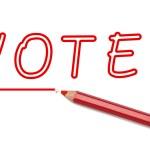 Vote written red pencil — Stock Photo #69797959