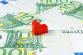 Concept house sell foreclosure money banknote red — Stock Photo