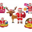 Set of Santa Clauses ready for christmas — Stock Vector #59749377