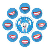 Cartoon Smiling tooth with Set of smiles — Stock Vector