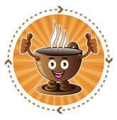 Cartoon smiling coffee cup — Cтоковый вектор