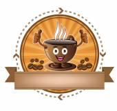Cartoon smiling coffee cup banner — Cтоковый вектор