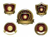 Illustration of golden soccer logo set — Stock Vector