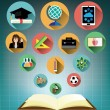 Opened book with Modern flat education icons set — Stock Vector #68483895