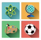 Modern education subject icons set — Stock vektor
