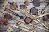 Vintage old wooden cooking utensils group — Stock fotografie