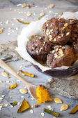 Homemade rustic muffins with pumpkin chocolate and oat flakes on bowl — Stock Photo