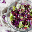 Mixed salad on glass bowl with red beans, seeds and purple cabbage on white wooden table — Stock Photo #60654767