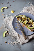 Wholemeal vegan toast with avocado slices, lemon, orange peel, pink pepper and seeds on plate with frayed napkin and knife — Stock Photo