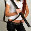 Hunting rifle, a girl with a gun — Stock Photo #52656041