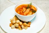 Soup and bread croutons, entree, meat — Stock fotografie