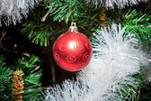 Christmas ornaments, bells, stars, balls, Christmas wreaths tabs, tree, holiday, new year,Santa hat, a clock with a cap of Santa Claus — Stock Photo