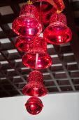 Christmas ornaments, bells, stars, balls, Christmas wreaths tabs, tree, holiday, new year,Santa hat, a clock with a cap of Santa Claus — Стоковое фото