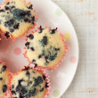 Homemade blueberry muffins in paper cupcake holder — Stock Photo #60918197