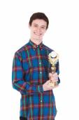 Young handsome man with trophy isolated on white — Stock Photo