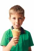 Little boy eating ice cream isolated on white — Stock Photo