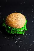 Hambúrguer caseiro com alface fresca verde, tomate e onio vermelho — Fotografia Stock
