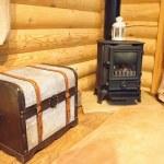 Log Burner in Log Cabin — Stock Photo #54335029