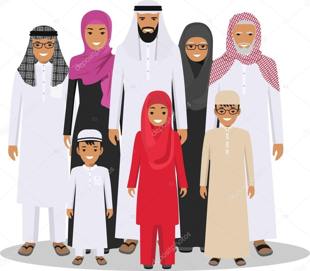 Family and social concept. Arab person generations at ...
