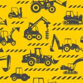 Heavy construction machines seamless background — Stock Vector