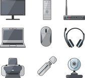 Digital computer equipment set — Stockvector