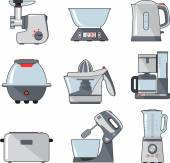 Set of household kitchen appliances — Stock Vector