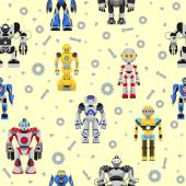 Seamless robots pattern — Stock Vector