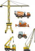 Conjunto de máquinas de construção pesada. ilustração vetorial — Vetor de Stock