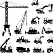 Постер, плакат: Set of heavy construction machines icons Vector illustration