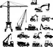 Set of heavy construction machines icons. Vector illustration — Stock Vector