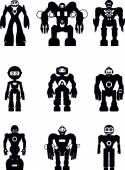 Set of silhouette robots — Stock Vector