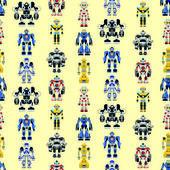 Seamless square robots pattern — Stock Vector